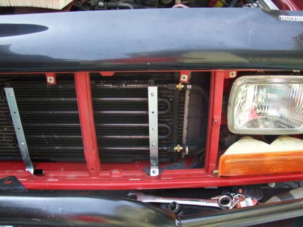 Hayden 516 transmission cooler installation on Jeep xj