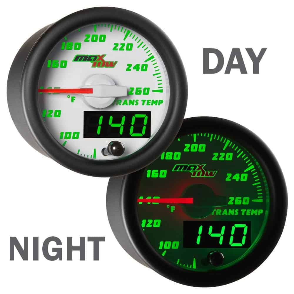 MaxTow Transmission fluid temperature gauge night and day display