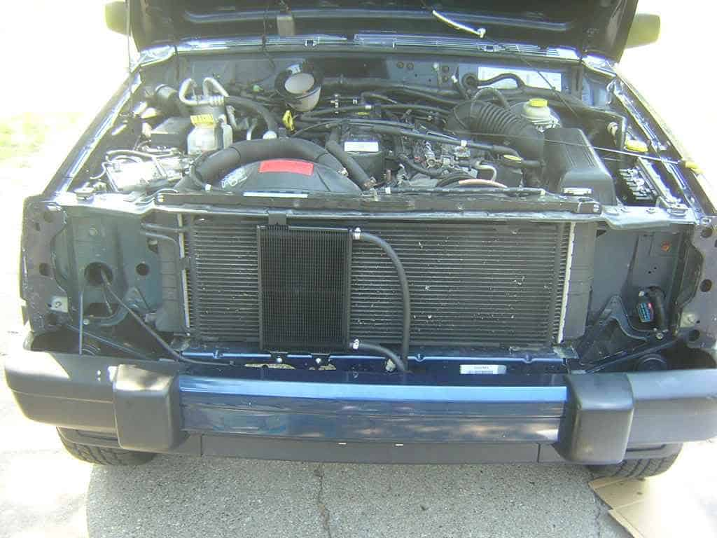 B&M 70264 transmission cooler installation on Jeep Cherokee XJ